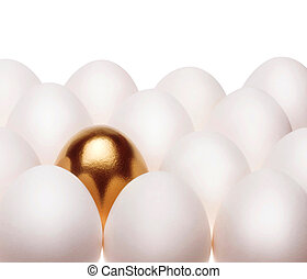 one gold egg lays among common white eggs