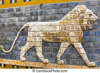 fragment of ancient frescoes - Fragment of the Babylonian...