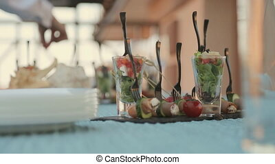 Dishes on the table at a catering
