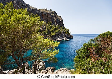 View of Sa Calobra bay in Mallorca, Spain