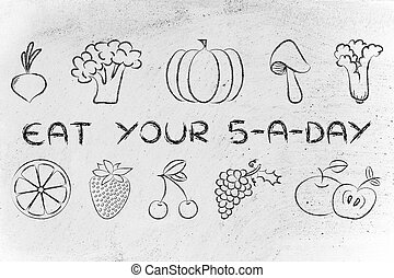5 a day mixed fruit and vegetables, healthy eating - mixed...