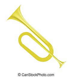 Yellow Horn Isolated on White Background. Wind Musical...