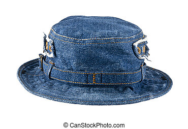 denim hat on white background