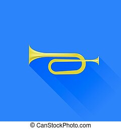 Metallic Horn Isolated on Blue Background. Long Shadow