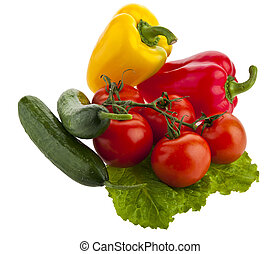 tomatoes, peppers and lettuce