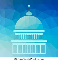 Capitol Silhouette Isolated on Blue Polygonal Background