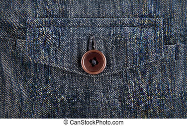 pocket with button down blue denim as background