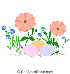 Easter egg hunt - pastel Easter eggs among the flowers...