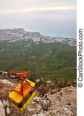 Mountains funicular railway - View from mountain with...