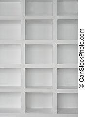 blanco, estantería, blanco, vacío, copia,...