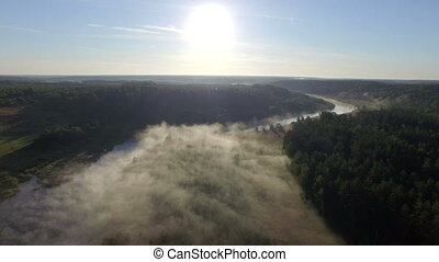 Fog at sunrise, aerial view