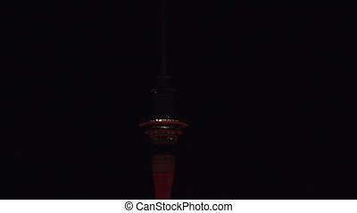Sky Tower illuminate in Red colorIts currently lit up red...