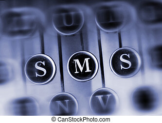 SMS message shortcut - Keyboard old typewriter with the...