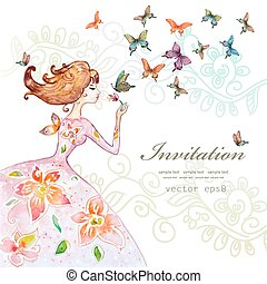 beautiful girl with butterfly. watercolor painting. vector illus