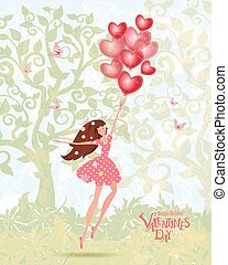 Cute girl with valentines balloons