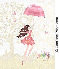 Happy girl with a pink umbrella. Mary Poppins. Happy birthday