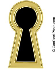 Keyhole - 3d keyhole Isolated render on white background