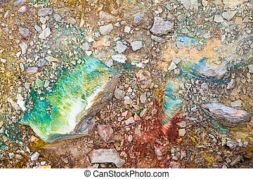 Sulfuric ground - Close up detail of the colorful sulfuric...