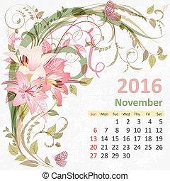 Calendar for 2016, November