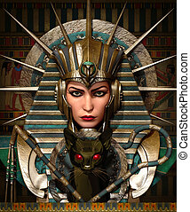 Cleo and Bastet, 3d cg - 3D computer graphics of a young...