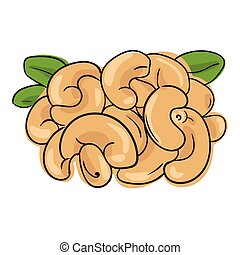 Cashew  - vector illustration with a handful of cashew nuts