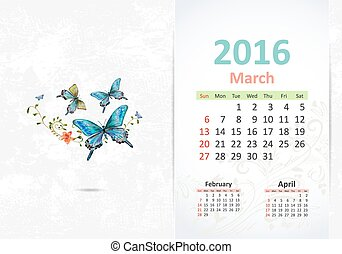 Calendar for 2016, march