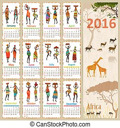 Ethnic Calendar for 2016 with beautiful African women. Vintage c