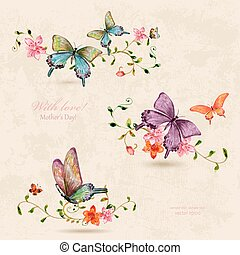 vintage a collection of butterflies on flowers. watercolor paint