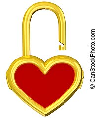 Heart lock - 3D Heart lock. Love concept. Isolated on white...
