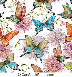 retro seamless texture with of flying butterflies watercolor...