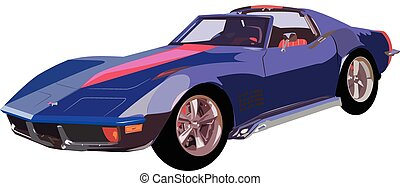 Chevy Corvette stingray - Vector graphic design of a old...
