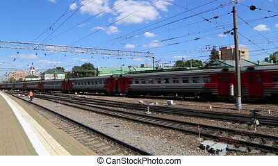 Train on Kazansky railway terminal Kazansky vokzal -- is one...