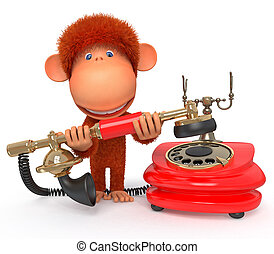 3d monkey with phone - The primacy calls friends to invite...