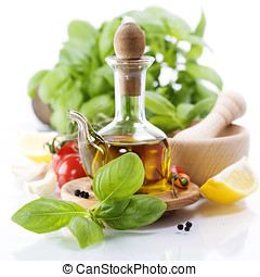 olive oil and vegetables - Olive oil, herbs and vegetables...