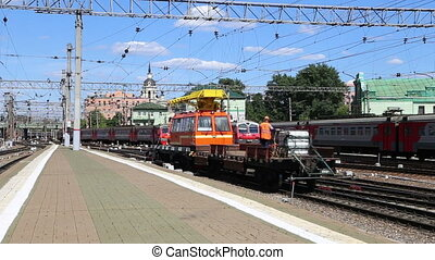 Train on Kazansky railway terminal ( Kazansky vokzal) -- is...