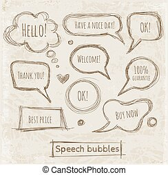 Speech and thought bubbles on vintage paper. Vector sketch...
