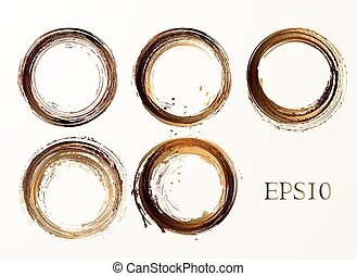 Set of vector coffee stains on white background