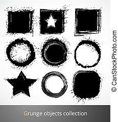 Set of grunge elements. Vector illustration.