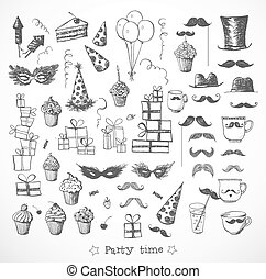 Set of sketch party objects hand-drawn with ink