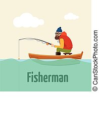 Fishing on the boat. Vector illustration of fisherman.
