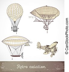 Retro aviation collection, Vector illustration.
