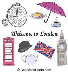 Vector hand drawn London set