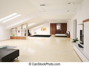 Interior of penthouse 3d render - Modern Interior of...