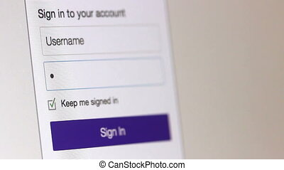 Login Screen With Security Password - A user enters their...