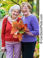 Happy Middle Age Women Holding Autumn Leaves. - Three...