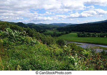 hills and river landscape