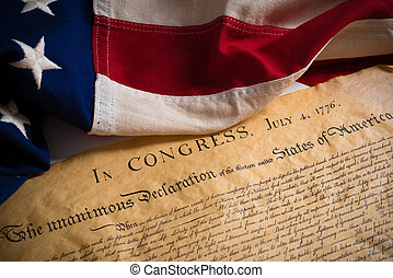 United States Declaration of Independence with vintage flag...