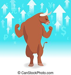 Bull market presents uptrend stock market concept in...