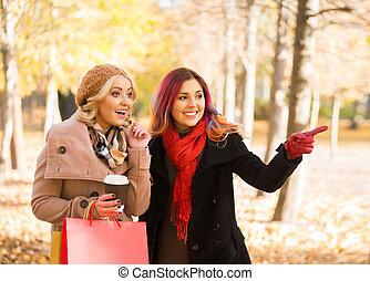 Women relaxing in an autumn park - Two beautiful women...