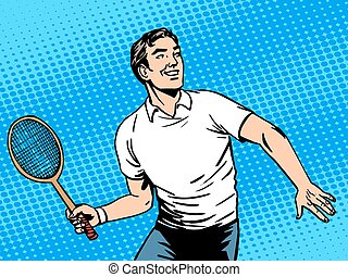 Handsome man playing tennis. Beauty health sports lifestyle....